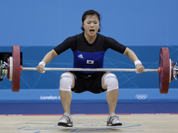 Yang Eun-Hye of South Korea competes during the women`s 58-kg weightlifting competition at the 2012 Summer Olympics, Monday, July 30, 2012, in London.Yang Eun-Hye of South Korea competes during the women`s 58-kg weightlifting competition at the 2012 Summer Olympics in London.