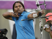 India`s Jayanta Talukdar aims for the target during an individual ranking round at the 2012 Summer Olympics in London