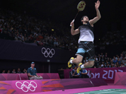 Kashyap Parupalli plays against Sri Lanka`s Niluka Karunaratne at a men`s singles badminton match of the 2012 Summer Olympics in London.