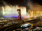 Fireworks light up the Olympic Stadium during the Opening Ceremony for the 2012 Summer Olympics in London
