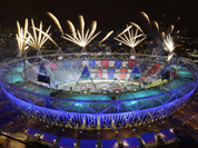 Fireworks ignite over the Olympic Stadium during the Opening Ceremony at the 2012 Summer Olympics in London