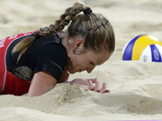 Lenka Hajeckova of the Czech Republic reacts near the end of a loss to the Unirted /States during a beach volleyball match at the 2012 Summer Olympics in London