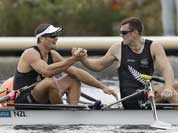 New Zealand`s Joseph Sullivan, left, and Nathan Cohen celebrate after winning the gold medal for the men`s rowing double sculls in Eton Dorney, near Windsor, England, at the 2012 Summer Olympics.