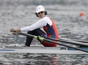 Japan`s Haruna Sakakibara strokes during a women`s rowing single sculls semifinal in Eton Dorney, near Windsor, England, at the 2012 Summer Olympics.