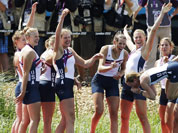 Caryn Davies, Caroline Lind, Eleanor Logan, Meghan Musnicki, Taylor Ritzel, Esther Lofgren, Zsuzsanna Francia, and Erin Cafaro throw coxswain Mary Whipple into the water after winning the gold medal for the women`s rowing eight in Eton Dorney, near Windsor, England.