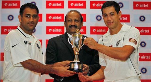 Captains of India, New Zealand teams unveil trophy