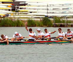 Olympic rowing: Germans row to quadruple sculls gold