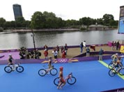 Triathletes compete in the triathlon at the 2012 Summer Olympics.