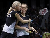 Russia`s Valeria Sorokina, right, and Nina Vislova celebrate after winning the women`s doubles badminton bronze medal match over Canada`s Alex Bruce and Michelle Li at the 2012 Summer Olympics.