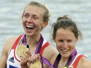 Great Britain`s Katherine Copeland, left, and Sophie Hosking celebrate after winning the gold medal for the lightweight women`s rowing double sculls in Eton Dorney, near Windsor, at the 2012 Summer Olympics.