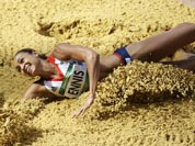 Britain`s Jessica Ennis lands a jump during the long jump heptathlon during the athletics in the Olympic Stadium at the 2012 Summer Olympics.