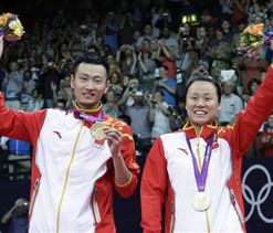 London Olympics badminton: China`s mixed doubles duo wins first badminton gold