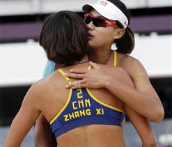 China`s women duo in Olympic beach volleyball quarters