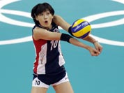 South Korea`s Kim Yeon-koung (10) prepares to pass the ball to a teammate against Chinaduring a women`s volleyball preliminary match at the 2012 Summer Olympics.