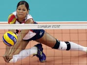 Dominican Republic`s Prisilla Altagracia Rivera Brens (14) makes a dig on a shot by Algeria during a women`s volleyball preliminary match at the 2012 Summer Olympics.