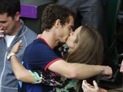 Andy Murray of Great Britain kisses his girlfriend, Kim Sears, after Murray defeated Roger Federer of Switzerland in the men`s singles gold medal match at the All England Lawn Tennis Club at Wimbledon, in London, at the 2012 Summer Olympics.