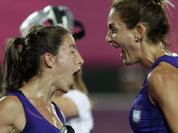 Argentina`s Luciana Aymar, right, celebrates her goal during a women`s hockey preliminary match against Germany at the 2012 Summer Olympics.