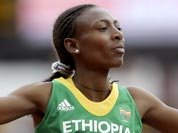 Ethiopia`s Abeba Aregawi reacts after competing in a women`s 1500-meter heat during the athletics in the Olympic Stadium at the 2012 Summer Olympics.