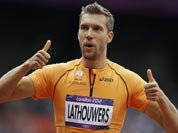 Netherlands` Robert Lathouwers reacts after competing in a men`s 800-meter heat during the athletics in the Olympic Stadium at the 2012 Summer Olympics.