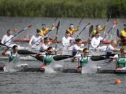 Hungary`s Gabriella Szabo, Danula Kozak, Katalin Kovacs and Krisztina Fazekas paddle in a women`s kayak four 500m heat in Eton Dorney, near Windsor, England, at the 2012 Summer Olympics.