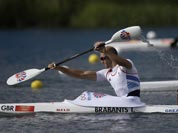 Great Britain`s Tim Brabants paddles in a men`s kayak single 1000m heat in Eton Dorney, near Windsor, England, at the 2012 Summer Olympics.