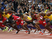 From right, Trinidad`s Richard Thompson, Jamaica`s Asafa Powell, United States` Tyson Gay, Jamaica`s Yohan Blake, United States` Justin Gatlin, Jamaica`s Usain Bolt, United State`s Ryan Bailey, and Netherlands` Churandy Martina start in the men`s 100-meters final during the athletics in the Olympic