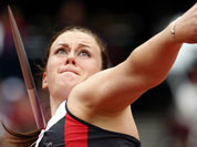 Canada`s Elizabeth Gleadle takes a throw in a women`s javelin throw qualification round during the athletics in the Olympic Stadium at the 2012 Summer Olympics, London.