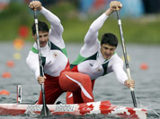 Belarus` Andrei and Aliaksandr Bahdanovich paddle in men`s canoe double 1000m semifinal in Eton Dorney, near Windsor, England, at the 2012 Summer Olympics.