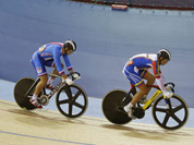 Cyclists compete in a track cycling men`s keirin event, during the 2012 Summer Olympics in London.