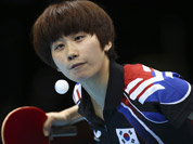 South Korea`s Seok Ha-jung serves to Singapore`s Li Jiawei in a women`s team table tennis bronze medal match at the 2012 Summer Olympics in London.