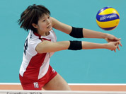 Japan`s Saori Kimura (18) prepares to pass the ball to a teammate against China during a women`s volleyball quarterfinal match at the 2012 Summer Olympics  in London.