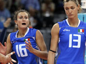 Italy`s Lucia Bosetti, left, and Valentina Arrighetti react after a point was scored by South Korea during a women`s quarterfinal volleyball match at the 2012 Summer Olympics.