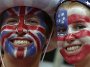 Supporters pose prior to the men`s handball quarterfinal match between Iceland and Hungary at the 2012 Summer Olympics.
