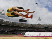  South Africa`s Willem Coertzen competes in the long jump decathlon during the athletics in the Olympic Stadium at the 2012 Summer Olympics, London.