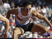 Japan`s Keisuke Ushiro clears a hurdle in a 110-meter hurdles heat in the decathlon during the athletics in the Olympic Stadium at the 2012 Summer Olympics, London.