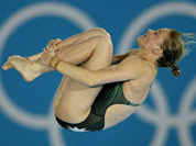 Brittany Broben from Australia competes during the women`s 10-meter platform diving semifinal at the Aquatics Centre in the Olympic Park during the 2012 Summer Olympics in London.