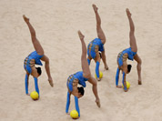 The team from Britain during performs during the rhythmic gymnastics group all-around qualifications at at the 2012 Summer Olympics, in London.