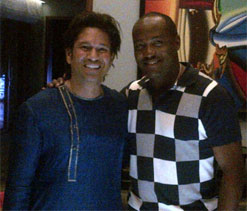Brian Lara visits Sachin Tendulkar`s residence