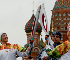 Olympic torch begins 123-day relay from Moscow