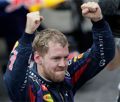 Angela Merkel congratulates Sebastian Vettel on fourth title