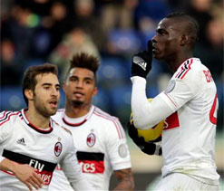 Mario Balotelli on target to help Milan draw level at Cagliari