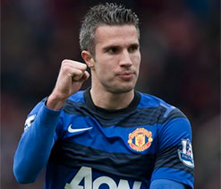 Van Persie ends goal drought to send Red Devils 15 points clear