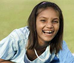 Smiling Pinki flips coin at Wimbledon