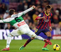 Barca`s Neymar out of Getafe Cup clash due to illness